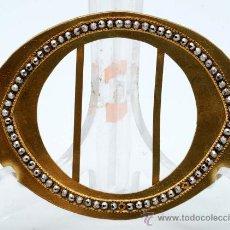 Antigüedades: HEBILLA CINTURON EN BRONCE DORADO Y MARQUESITAS FINALES S XIX. Lote 28337496