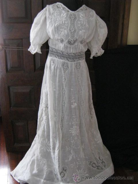 antiguo vestido de novia encaje valenciennes y - vendido en venta