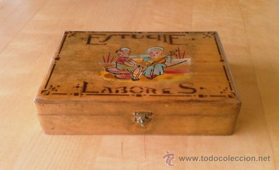 Antigua caja de madera estuche para labores comprar - Cajas de madera online ...