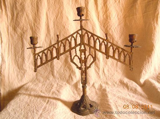CANDELABRO DE BRONCE 5 VELAS FINALES XIX (Antigüedades - Iluminación - Candelabros Antiguos)