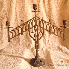 Antigüedades: CANDELABRO DE BRONCE 5 VELAS FINALES XIX. Lote 28375968