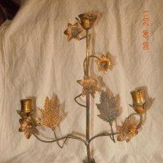 Antigüedades: CANDELABRO DE BRONCE 3 VELAS FINALES XIX. Lote 28376802