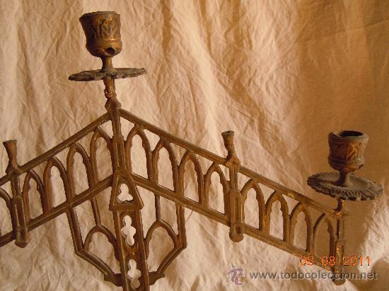 Antigüedades: CANDELABRO DE BRONCE 5 VELAS FINALES XIX - Foto 5 - 28375968