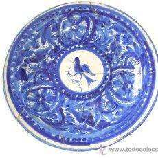 Antigüedades: CERAMICA MANISES..PLATO GRANDE. S. XIX. OCELL. CERAMICA BLABA.CERAMICA AZUL.PAJARO. . Lote 28399615