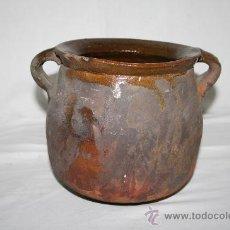 Antigüedades: BONITA OLLA DE CERÁMICA COCIDA AL BAJO HORNO , S.XIX. Lote 28402757