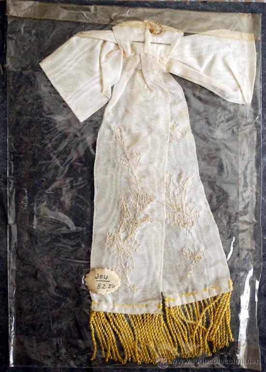 Antigüedades: LAZO 1ª COMUNION. BORDADO. HILO DORADO Y FLECOS. - Foto 2 - 58324382