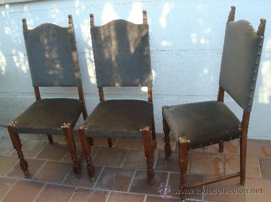 Tres sillas castellanas tapizadas iguales ant comprar - Restaurar sillas antiguas ...
