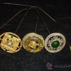Antigüedades: LOTE DE 7 PRECIOSAS AGUJAS DE SOMBRERO DE SEÑORA, ALFONSINOS.. Lote 28523122