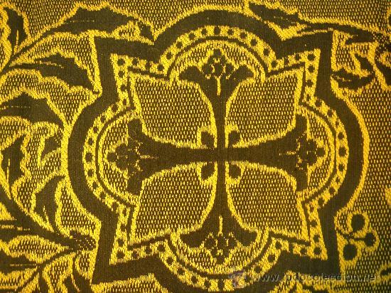 Antigüedades: TIRA ANTIGUA DE TELA CON CRUCES EN NEGRO Y ORO - Foto 5 - 114961663