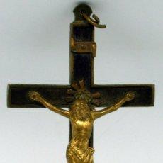 Antigüedades: CRUCIFIJO EN MADERA Y BRONCE FINALES S XIX. Lote 29294714