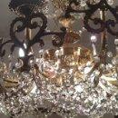 Antigüedades: MAGNIFICA Y ANTIGUA LAMPARA DE BRONCE CON CRISTALES DE STRRASS.9 PUNTOS DE LUZ. Lote 28641356