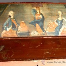 Antigüedades: CAJA O ARCA DE MADERA CATALANA PINTADA S.XVIII DE MARINA. Lote 28624033