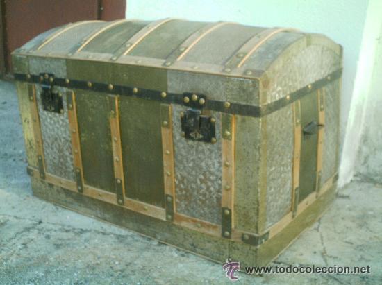 Ba l de madera y chapa antiguo comprar ba les antiguos en todocoleccion 28644944 - Baules antiguos ...