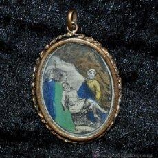 Antigüedades: PRECIOSO RELICARIO DEL SIGLO XVIII CON IMAGEN RELIGIOSA LITOGRAFIADA. MARCO METAL DORADO. Lote 45043424