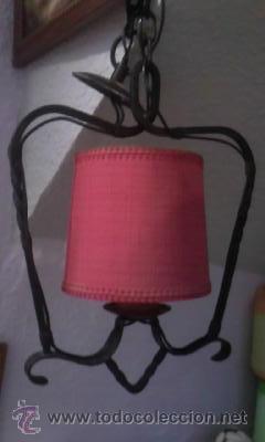 ANTIGUA LAMPARA COM FORJA Y PANTALLA EN TELA ROJA (Antigüedades - Iluminación - Lámparas Antiguas)