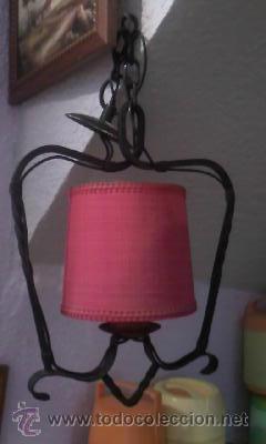 Antigüedades: Antigua lampara com forja y pantalla en tela roja - Foto 2 - 105194114
