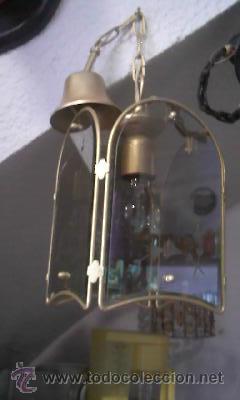 Antigüedades: Antiguo farol en metal pintado en color oro y cristal tallado. - Foto 3 - 28670138