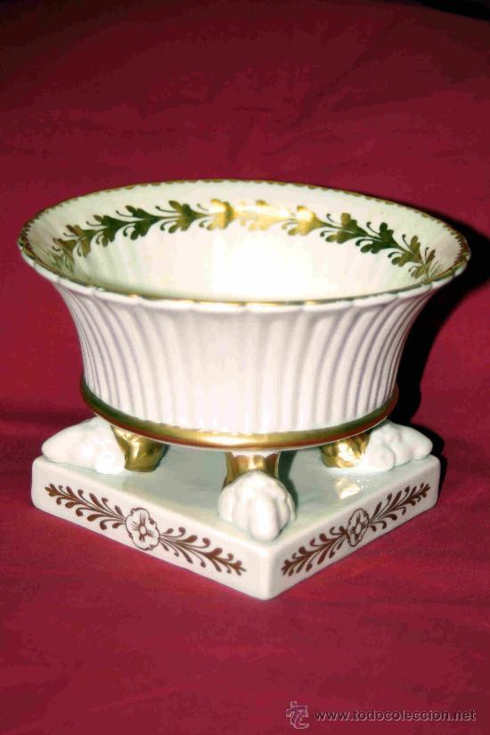 JARRON MACETERO PORCELANA DECORACION ORO MANISES HISPANIA (Antigüedades - Porcelanas y Cerámicas - Manises)