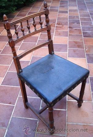 BONITA SILLA DE NOGAL ANTIGUA, PARA RESTAURAR EL ASIENTO. (Antigüedades - Muebles Antiguos - Sillas Antiguas)