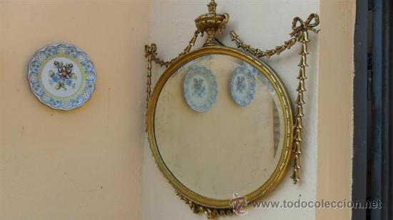 Antigüedades: espejo de madera dorada - Foto 4 - 28741774