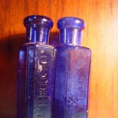 Antigüedades: DR. TRIGO . VALENCIA . DOS FRASCOS ANTIGUOS DE FARMACIA . AZUL COBALTO - FRASCO. Lote 42672564
