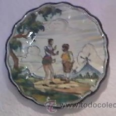 Antigüedades: PRECIOSO PLATO DE TALAVERA DON QUIJOTE Y SANCHO PANZA PINTADO A MANO 40 CM. Lote 28827129