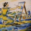 Antigüedades: PLATO CERÁMICA TALAVERA CALADO DECORADO CON LA MUSA DE LA PINTURA MARCADO .SASO. Lote 28836606