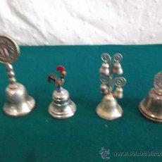 Antigüedades: 4 CAMPANAS PEQUEÑAS PLATEADAS. Lote 28871861