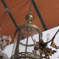 Antigüedades: FAROL ARTÍSTICO EN BRONCE, CON CRISTALES CONVEXOS.. Lote 28881011