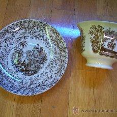 Antiguidades: TAZA Y PLATO DE DESAYUNO DEL S XIX. Lote 56402528