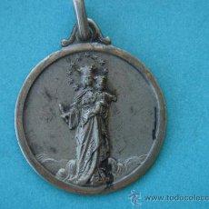 Antigüedades: MEDALLA ANTIGÜA DE PLATA -VIRGEN CON NIÑO-. 2 CMS DE DIÁMETRO. Lote 28902248