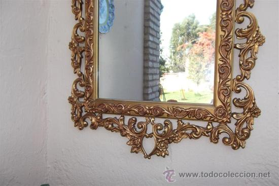 Antigüedades: espejo de madera dorada - Foto 4 - 28921233