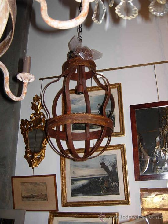 Antigüedades: LAMPARA DE HIERRO EN TONO OXIDO MUY BONITA - Foto 3 - 109890002