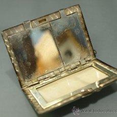 Antigüedades: POLVERA CON DOS COMPARTIMENTOS EN METAL PLATEADO. Lote 28972558