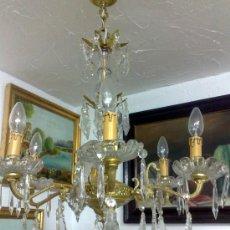 Antigüedades: ANTIGUA LAMPARA EN BRONCE Y CRISTAL.. Lote 29011568