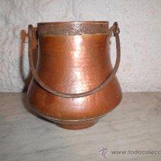 Antigüedades: OLLA DE COBRE CON HIERRO DE FORJA 19-19. Lote 29052524