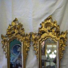 Antigüedades - Preciosa pareja de cornucopias del siglo 19 en oro fino y bruñido neobarrocas - 29037512