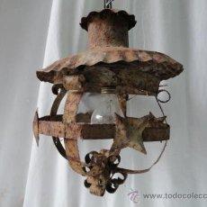Antigüedades: BONITO FAROL DE CHAPA DE HIERRO.. Lote 29066021