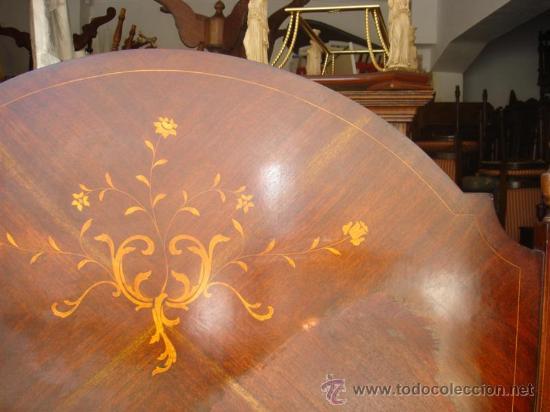 Antigüedades: cama de matrimonio de madera de mogno y marqueteria - Foto 2 - 29094292