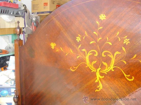 Antigüedades: cama de matrimonio de madera de mogno y marqueteria - Foto 3 - 29094292