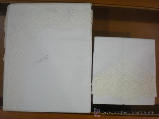 JUEGO DE CAMA GR HERMINIA SEMILINO&ENCAJE DE BOLILLOS CAMARIÑAS, REGALO TAPETE DE 36E, 3MX2,5M. (Antigüedades - Hogar y Decoración - Sábanas Antiguas)