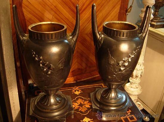 Antigüedades: DECORATIVA PAREJA DE COPAS DE BRONCE SOBRE BASE DE MARMOL NEGRO DEL XIX - Foto 4 - 29141501