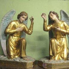 Antigüedades: DOS ANGELES ADORADORES PARA ORATORIO O CAPILLA EN ESTUCO CIRCA 1900 A 1920 ( GRAN TAMAÑO ). Lote 49581126