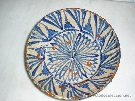 PLATO ONDO **FAJALAUZA SERIE AZUL -SIGLO XVIII-** SOL (Antigüedades - Porcelanas y Cerámicas - Fajalauza)