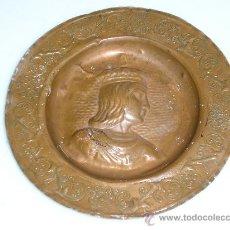 Antigüedades: ANTIGUO PLATO/PLAFON DE COBRE REPUJADO ** REINA ISABEL ** . Lote 29176340