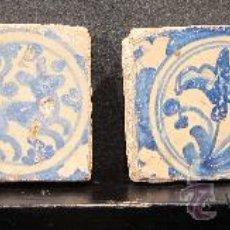Antigüedades: CUATRO PEQUEÑOS AZULEJOS DE TRIANA, SIGLO XVII. Lote 29201089