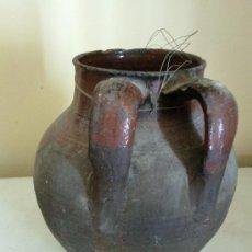 Antigüedades: ANTIGUO PUCHERO DE BARRO CON DOS ASAS. Lote 29201747