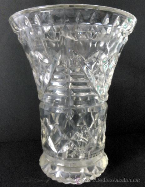 Antiguo jarron florero de cristal tallado comprar for Jarron cristal