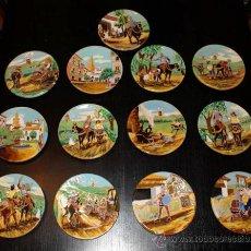 Antigüedades: COLECCION DE 13 PLATOS - ESMALTADO SOBRE TERRACOTA - QUIJOTE - ESTILO DANIEL ZULOAGA - PINTURA CO. Lote 29217333