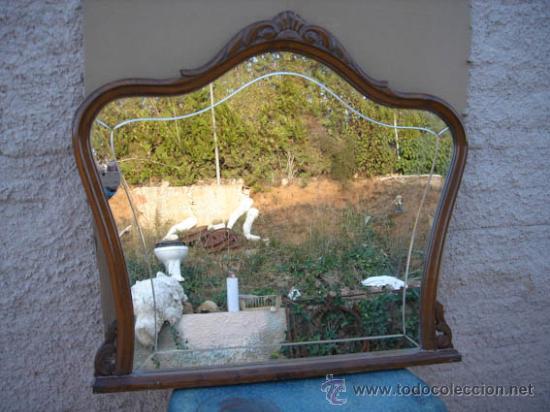 Espejo antiguo con marco de madera muy bonito comprar for Decoracion marco espejo